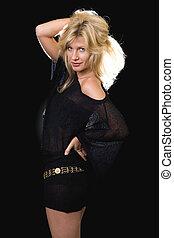 Woman in black mini-dress