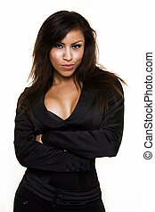 Woman in black - Attractive long hair brunette woman wearing...