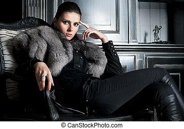 Woman in black - Portrait of the beautiful woman in black