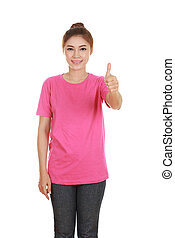 woman in blank t-shirt with thumbs up