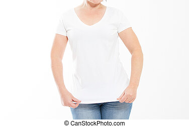 Woman in blank white t-shirt isolated. T shirt mock up, copy space.