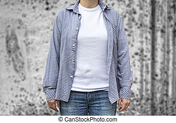 Woman in blank white t-shirt mock-up.
