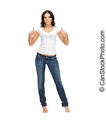 woman in blank white t-shirt pointing at herself