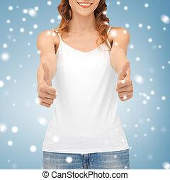 woman in blank white tank top