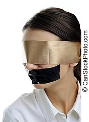 Woman in blindfold