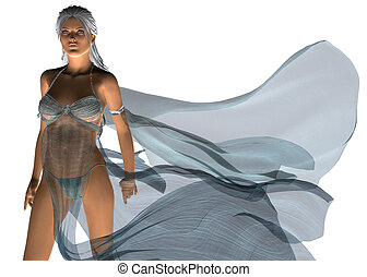 Woman in blowing dress - Digitally rendered image of a woman...