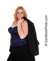 Woman in blue black corset standing