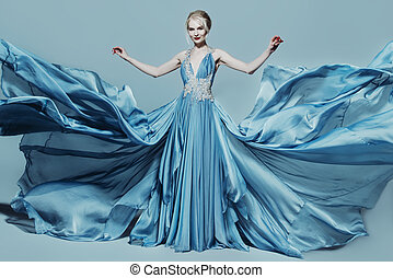 woman in blue dress - Full length portrait of a magnificent...