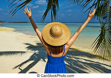 Woman in blue dress on a beach at Maldives - Woman in blue ...