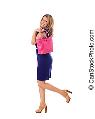 Woman in blue dress with bright tote bag. Isolated. - Pretty...
