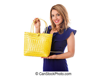 Woman in blue dress with bright tote bag.Isolated.