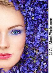 Woman in blue flowers