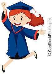 Woman in blue graduation gown