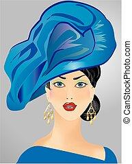 woman in blue hat,