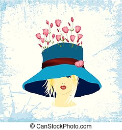 woman in blue hat with rose
