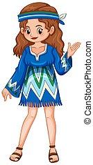 Woman in blue hippie dress