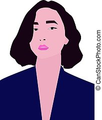 Woman in blue, illustration, vector on white background.