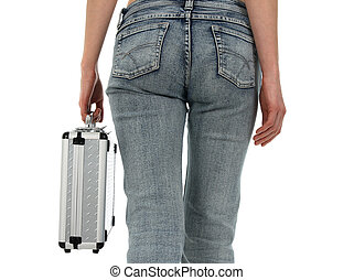 Woman in blue jeans with metal case