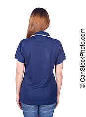 woman in blue polo shirt isolated on white background (back side)