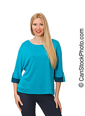 Woman in blue shirt isolated on white
