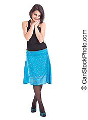Woman in blue skirt