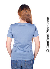 woman in blue t-shirt isolated on white background (back side)