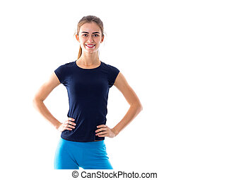 Woman in blue T-shirt smiling