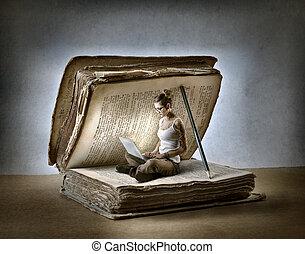 Woman in book