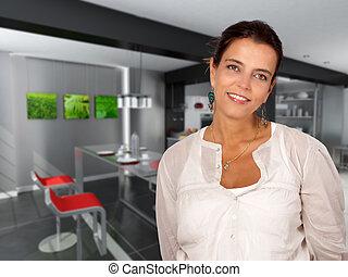 Woman in breakfast room
