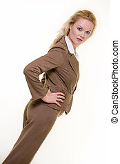 Woman in brown business suit - Attractive blond woman ...