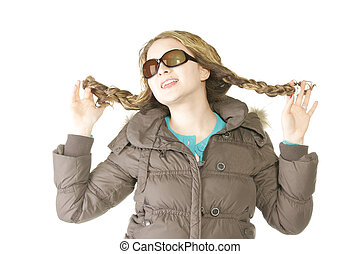 Woman in brown winter jacket