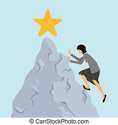 Woman in business clothes climbs on the rock to the mountain...