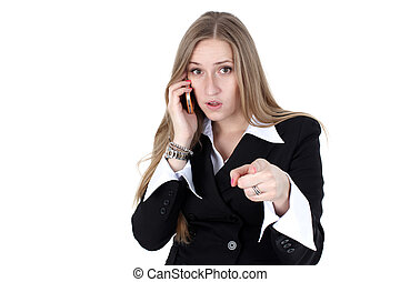 woman in business outfit talking to mobile isolated on white