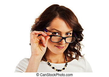 Woman in business uniform on white background with glasses