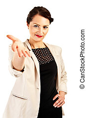 Woman in business uniform on white background with handshake