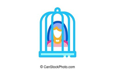 woman in cage Icon Animation. color woman in cage animated icon on white background