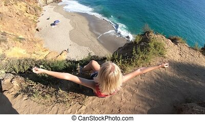 Woman in California West Coast - Carefree female from...