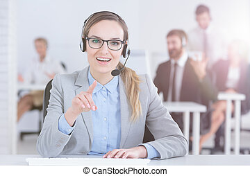 Woman in call center office