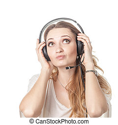 Woman in call center with phone headset