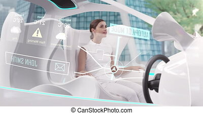 Animation of woman in car with white interiors in autopilot mode driving across city. Futuristic engineering artificial intelligence concept digital composite.