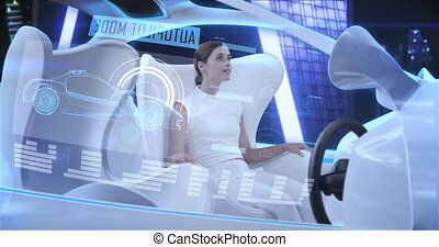 Animation of woman wearing white in car in autopilot mode driving across modern city. Futuristic engineering artificial intelligence concept digital composite.