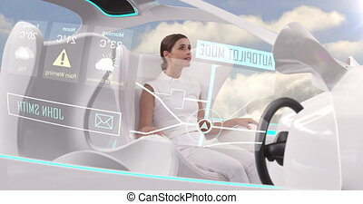 Animation of woman in car with white interiors in autopilot mode driving with clouds and blue sky. Futuristic engineering artificial intelligence concept digital composite.