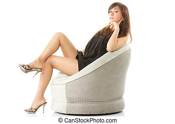 Woman in chair sideview