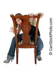 Woman in Chair with Clipping Path