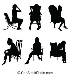 woman in chairs vector