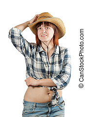 woman in  chequered shirt and straw hat
