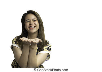 Woman in chinese style open the palm of the hand