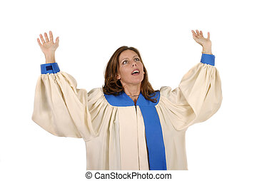 Woman In Choir Robe Praising God - Woman in church choir...