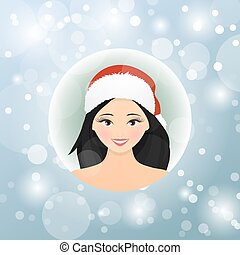 woman in christmas santa hat isolated.