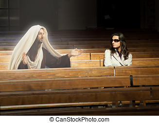 Woman in church sees Jesus Christ - Woman praying in church...